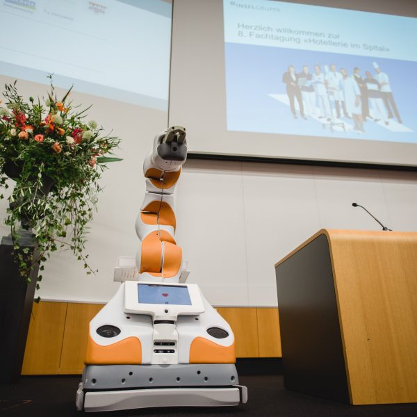 Care robot Lio gives a speech