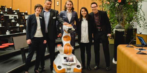 Personal robot Lio together with his colleagues from F&P Robotics