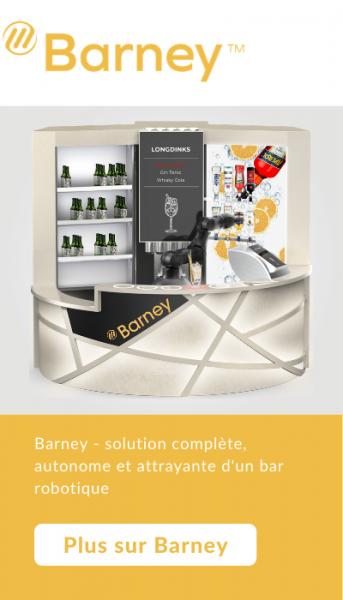 Barney - solution complète, autonome et attrayante d'un bar robotique