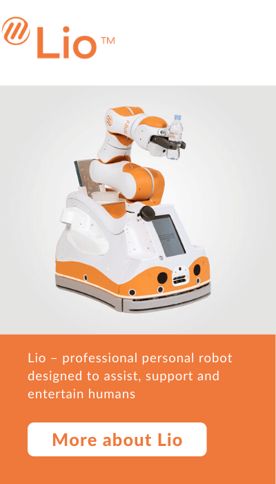 Lio - professional personal robot designed to assist, support and entertain people